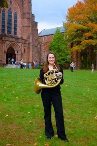 Colleen with horn at Mt. Holyoke